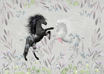 Fantasy Mixed Media - Floral Fantasy Horses by Amanda Lakey