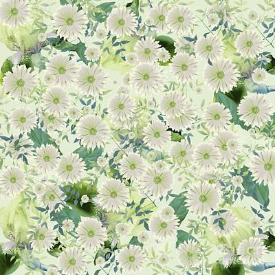 Mixed Media - Floral Flurry Green Cream by Rachel Hannah