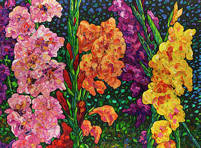 Painting - Floral Interpretation - Gladiolus by James W Johnson