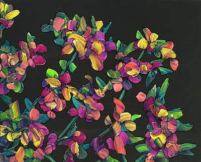 Painting - Floral Interpretation - Lantana Study by James W Johnson