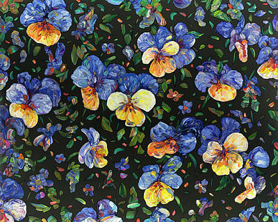 Painting - Floral Interpretation - Pansies by James W Johnson