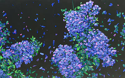 Painting - Floral Interpretation - Plumbago by James W Johnson