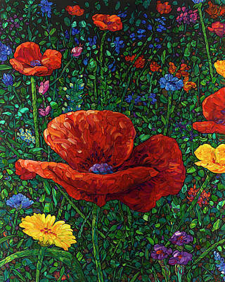 Painting - Floral Interpretation - Poppy by James W Johnson