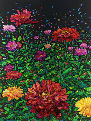 Painting - Floral Interpretation - Zinnias by James W Johnson