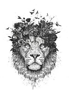 Ink Drawing Drawing - Floral Lion by Balazs Solti