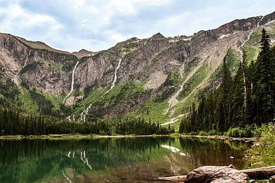 Photograph - Floral Park Falls Monument Falls Avalanche Basin Falls Across Avalanche Lake Glacier National Park by NaturesPix