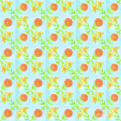 Painting - Floral Pattern On Blue Background by Irina Dobrotsvet