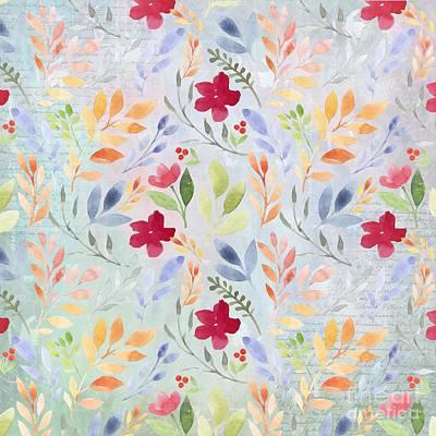 Wall Art - Mixed Media - Floral Script Pattern - Blue Periwinkle by Amanda Lakey