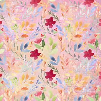 Wall Art - Mixed Media - Floral Script Pattern - Pink Carnation by Amanda Lakey