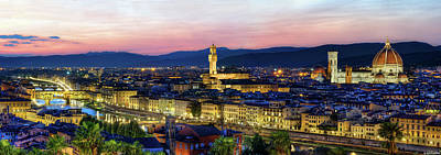 Photograph - Florence At Dusk Panorama by Weston Westmoreland