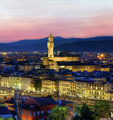 Photograph - Florence At Dusk Triptych 2 - Palazzo Vecchio by Weston Westmoreland