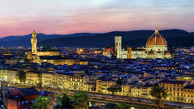 Photograph - Florence - Duomo And Palazzo Vecchio At Dusk by Weston Westmoreland