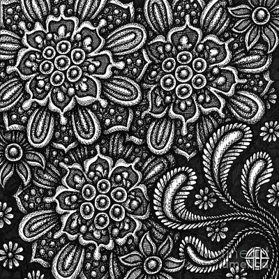 Drawing - Floriated Ink 10 by Amy E Fraser