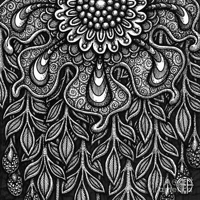 Drawing - Floriated Ink 14 by Amy E Fraser