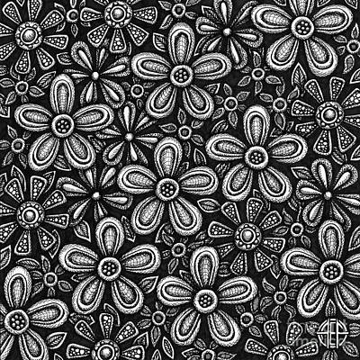 Drawing - Floriated Ink 2 by Amy E Fraser