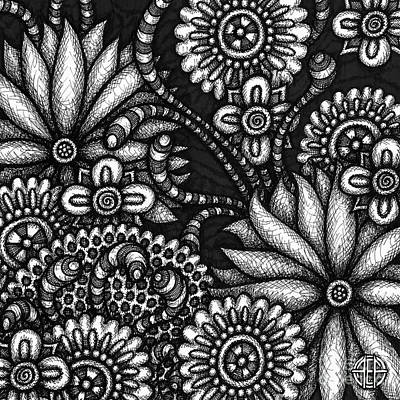 Drawing - Floriated Ink 9 by Amy E Fraser