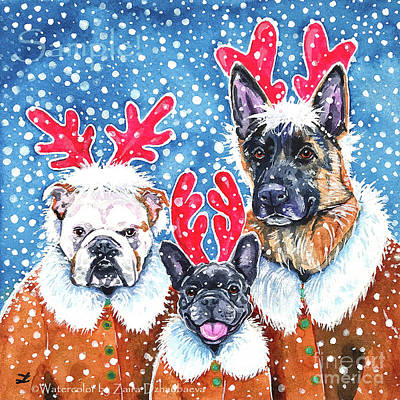 Painting - Florida Pups On Christmas Vacation by Zaira Dzhaubaeva