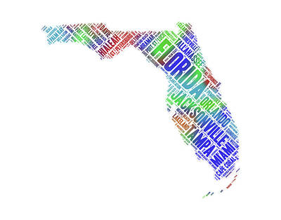 Digital Art - Florida State Word Art Map With Cities by Peggy Collins