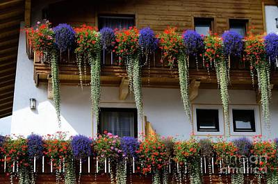Photograph - Flower Arrangement On Typical Tyrolean House Austria by Elzbieta Fazel