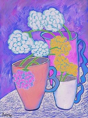 Digital Art - Flower Arrangements In Coffee Cups by Caroline Street