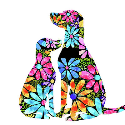 Painting - Flower Dog Art - Unconditional Love - Sharon Cummings by Sharon Cummings