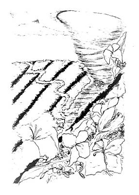 Drawing - Flower Farmers Tornado Paint My Sketch by Delynn Addams