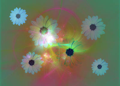 Mixed Media - Flower Fractal Art by Johanna Hurmerinta