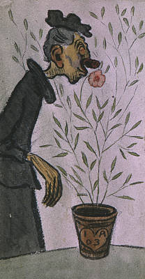 Drawing - Flower Sniffer  by Ivar Arosenius