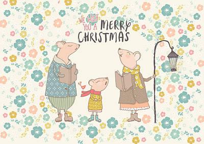 Wall Art - Mixed Media - Flower Up Christmas Mice II by Amanda Lakey