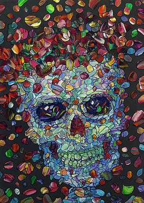 Painting - Flowered Calavera by James W Johnson