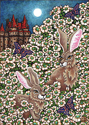 Painting - Flowered Hare 3 by Amy E Fraser