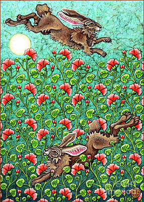 Painting - Flowered Hare 5 by Amy E Fraser