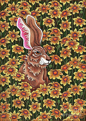 Painting - Flowered Hare 9 by Amy E Fraser