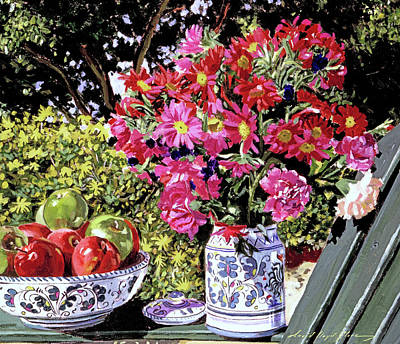 Painting - Flowers And Apples by David Lloyd Glover