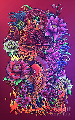 Painting - Flowers and Flames by Julie Oakes
