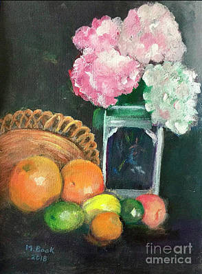 Painting - Flowers And Fruit Still Life by Marlene Book