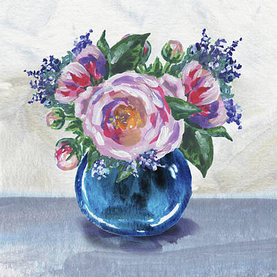 Painting - Flowers Bouquet In Blue Vase Floral Impressionism  by Irina Sztukowski