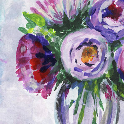 Painting - Flowers Bouquet Peeking Purple Floral Impressionism  by Irina Sztukowski