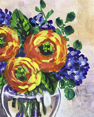 Painting - Flowers Bouquet Peeking Yellow Floral Impressionism  by Irina Sztukowski