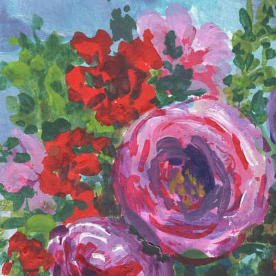 Painting - Flowers Bouquet Red Splash Floral Impressionism  by Irina Sztukowski
