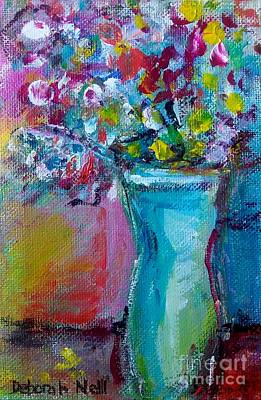 Painting - Flowers In A Blue Vase by Deborah Nell