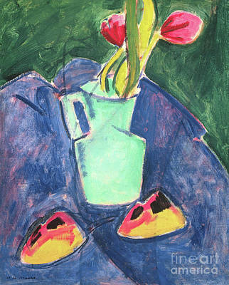 Painting - Flowers In A Green Vase On Purple Cloth by Alfred Henry Maurer