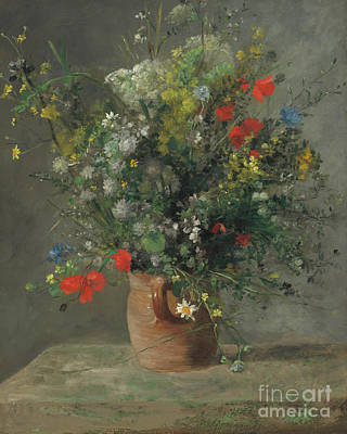 Antique Flowers Vase Wall Art - Painting - Flowers In A Vase, Circa 1866 by Pierre Auguste Renoir