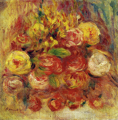 World Forgotten Rights Managed Images - Flowers in a Vase with Blue Decoration Royalty-Free Image by Pierre Auguste Renoir