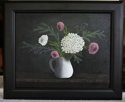 Painting - Flowers In White Vase by Gloria Johnson