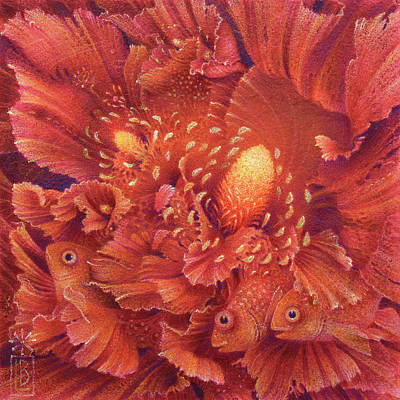 Painting - Flowers With Fish by Lynn Bywaters