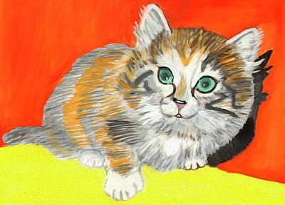 Painting - Fluffy Kitten by Dobrotsvet Art