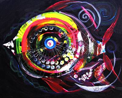Painting - Fluorescent Fish And Friend by J Vincent Scarpace