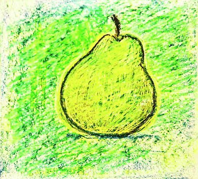 Still Life Drawings - Fluorescent Pear by Asha Sudhaker Shenoy