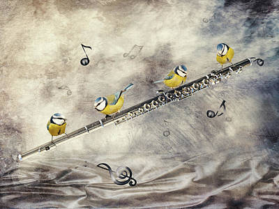 Best Sellers - Surrealism Digital Art - Flute birds players by Mihaela Pater